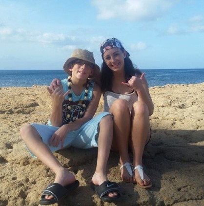 On the beach with brother