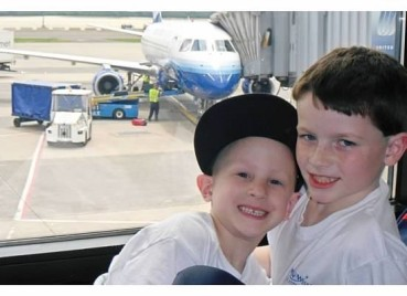 Mikey & Parker at the airport prior to Mikeys wish trip